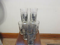 Lot of 8 VINTAGE CLEAR GLASS / BLACK & GOLD 12 0Z. DRINKING GLASSES