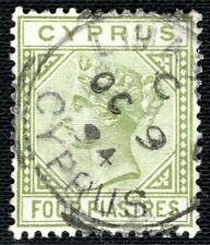 More details for cyprus qv stamp sg.35a 4p pale olive-green 1894 cds cat £40+ lgreen91