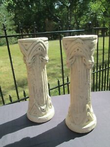 "Vintage Cement Gothic Candlesticks HPI Gargoyle Halloween Candle Holder 11"" Tall"