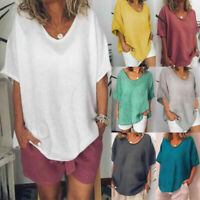 Womens Short Sleeve Cotton Linen Loose Baggy Tops Shirts Summer Beach Blouse Tee
