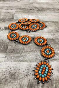 Western Concho Chain Hip Belt Vintage Boho Turquoise & Orange Stone Rodeo