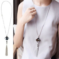 Fashion Women Pendant Necklace Square Big Drop Crystal Long Chain Sweater Tassel
