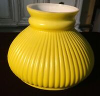 "Vintage Ribbed Glass Oil Kerosene Student Aladdin Lamp Shade 7"" Yellow"