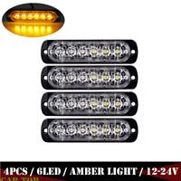 4X 6 LED Amber Car Truck Emergency Beacon Warning Hazard Flash Strobe Light Bar