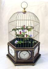 Huge 3 Animated Singing Bird Cage Porcelain Panel Brass Music Box Clock