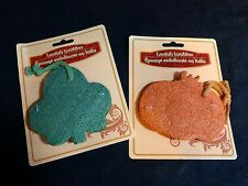 Kitchen Loofah Scrubber Set of 2 Green LEAF Orange PUMPKIN