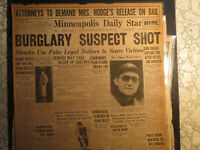 Baseball Tu Cobb Newspaper WEARS SPECS + MINNEAPOLIS GUN SQUAD SHOOT BURGULARS