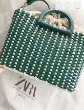 Zara Green White Two Tone Woven Tote Bag Bnwt