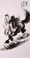 100% ORIGINAL FAMOUS FINE ART CHINESE ANIMAL WATERCOLOR PAINTING-Horses Racing