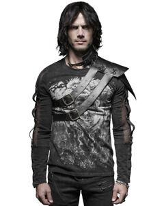 Punk Rave Mens Harness Shoulder Armour Black Faux Leather Gothic VTG Steampunk