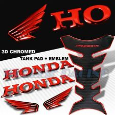 CHROMED RED+BLACK PRO GRIP TANK PAD+2X 3D WING LOGO+HONDA LETTER EMBLEM STICKER