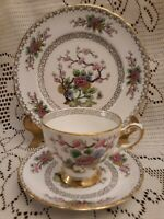 Vintage Tuscan Fine English Bone China Beautiful KI-MING Tea Cup Saucer & Plate