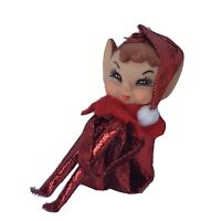 Vtg Red Metallic Lame Felt Knee Hugger Elf Japan Rubber Pixie Face Xmas Ornament