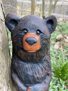 Chainsaw Carved BLACK BEAR CUB Walnut Wood TEDDY BEAR CUB Statue ONE of a KIND!