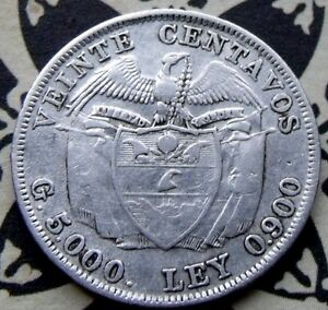 RARE MINTAGE 1914  Colombia 20 Centavos, Very rare with Holder