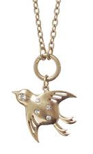 £35 Art Nouveau Gold Bird Wings Pendant Long Necklace Swarovski Elements Crystal