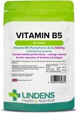 Vitamin B5 (Pantothensäure) 500mg (90 Tabletten) Stress, Energie, Haut [4661]