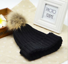 Cute Womens Warm Wool Knitted Raccoon Fur Pom Beanie Bobble Ski Hat Slouch Cap