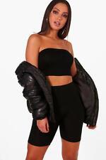 Boohoo Womens Roxy Basic Jersey Bandeau Black  Size 10