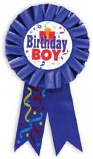Kids Blue Dad HAPPY BIRTHDAY BOY Fabric Rosette Award Ribbon Badge 55mm Diameter