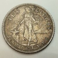 1945 Ten 10 Cents Centavos Filipinas United States Of America Silver Coin D630