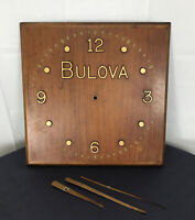 Vintage Bulova Advertising Clock wood square Mid Century 17 x17 not working