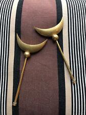 Antique gilded bronze Turkish Islamic Moon Crescent MILITARY Finials ALAM 19th c