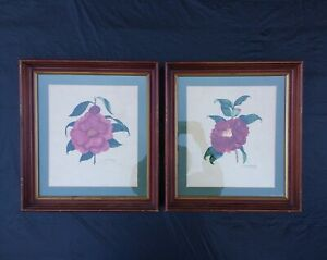 Antique Watercolor Flower Paintings S.C Walden Framed