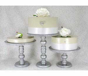 3 Silver Cake Stands Set, Wedding Cake Stands, Rhinestone Cupcake Stands,