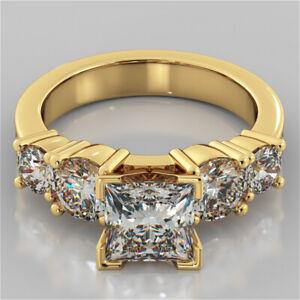 2.60 Ct Princess Cut Bridal Diamond Engagement Ring 14K Solid Yellow Gold Size 7
