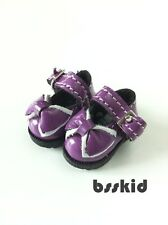 D03 Blythe Hujoo BJD Lati Yellow 1/12 Mary Jane PURPLE Doll Shoes Bow Ribbon