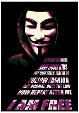 """NEW Anonymous Guido Fawkes I Am Free vendetta hacktivist  34"""" x 24"""" POSTER"""