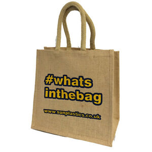 Printed Jute Bags (med) 30x30x20cm - Hessian Bags with padded handles