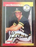 Lance Blankenship Hand Signed 1989 Donruss Baseball Card Oakland A's