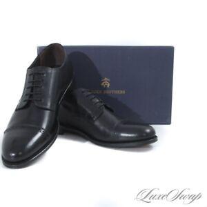 NIB #1 MENSWEAR Brooks Brothers Black Glazed Leather Cap Toe Dress Shoes 12 #16