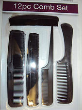 New 12 pcs Hair Comb Assortment Assorted Black Plastic Hair Styling Salon