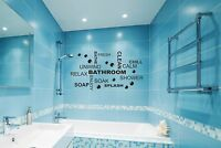 Bathroom Wall Quote Stickers Vinyl Art Decals decor transfer Toilet Shower DIY