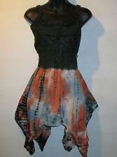 Top 2X 3X Plus Green Coral Corset Lace Up Chest Asymmetrical Hem Mini Dress 405