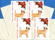 CHIHUAHUA PACK OF 4 DELIGHTFUL CARDS DOG PRINT GREETING CHRISTMAS CARDS