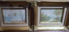 Pair of mid-century bird nature paintings 1950s oil on artist board estate