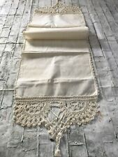 FAB Antique Victorian Handmade Ecru Crochet Lace & Linen Wedding Runner or Towel