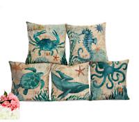 SEA LIFE MARINE Cushion Covers! Turtle Crab Seahorse Whale Octopus Linen 45cm