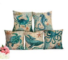 SEA LIFE MARINE Cushion Covers! Turtle Crab Seahorse Whale Octopus Linen 45cm