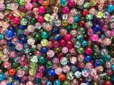 CRACKLE CRYSTAL GLASS SPACERS, CHARMS, 500 BEADS 8MM OR 600 6MM  ASSORTED COLOR