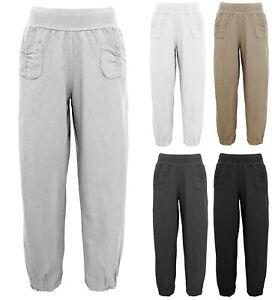 Hosen Damen leichte Leinenhose luftige Baggy weite Sommerhose 13 Farben Gr 40-54