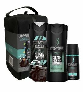 NEW Men's AXE Apollo Gift Set Body Spray/Wash/Pouf/Shampoo + Conditioner