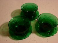 6 PIECES  FIRE KING FOREST GREEN CHARMED 3  SMALL SAUCERS AND 3  DESERT BOWLS