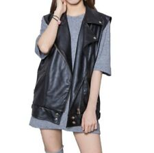 Ladies Faux Leather Black Waistcoat Gilet Biker Sleeveless Jacket Motor Coats D
