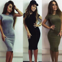 Women Short Sleeve Bodycon Casual Lady Party Evening Cocktail Mini Dress D