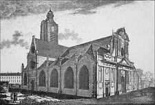 FAÇADE du 17e siècle de l'ÉGLISE SAINT LAURENT avant 1860 -Gravure du 19e siècle